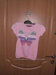 Розовая футболка б. у для девочки на рост 110