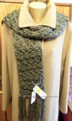 Новый длинный шарф из объемной пряжи