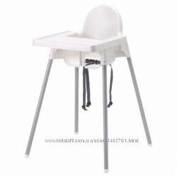 Высокий стульчик со столешниой, серебристый серии АНТИЛОП
