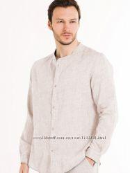 Нутарьльная льняная рубашка мужская. Большой размер для полных, натуральная