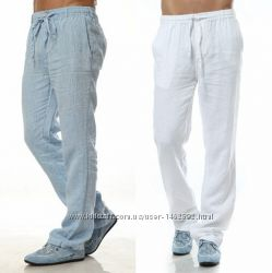 Большие брюки, штаны из натурального льна на полного мужчину, размеры все