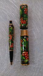 Ручка подарочная с петриковской росписью.