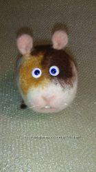 Валяная игрушка. Норман  морская свинка. Из  натуральной шерсти.