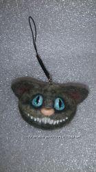 Брелок Чеширский кот из натуральной валяной шерсти