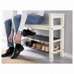 Скамья с полкой для обуви, белый от Икеа. Акция