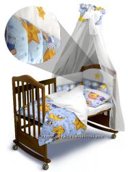 Комплект постельного белья Сонный Мишка Premium с балдахином и без