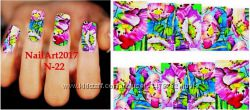 Слайдер маникюр дизайн- ногтей, наклейки водные, акрил, гель, маникюр 5