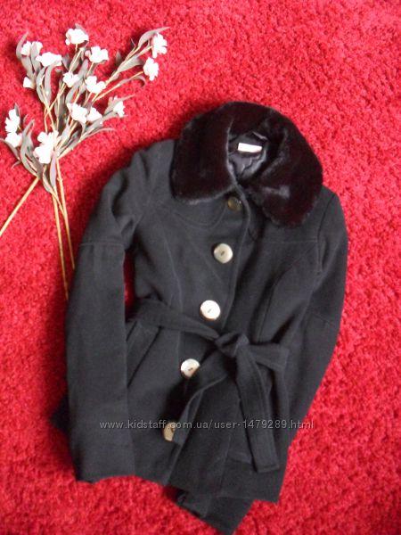 Черное пальто кашемировое короткое утепленное-36р