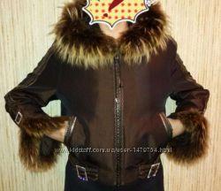 Коротенькая куртка пихора, натуральный мех кролика, р. L