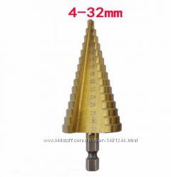 Сверло ступенчатое конусное шаговое 4 - 32 мм