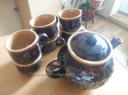 Сервиз заворник и 6 чашек. Керамика , покрытая лаком
