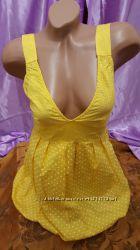 Платье из Италии 42-44 размер, желтое в белый горошек