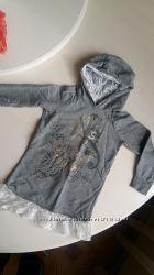 Платье туника Terranova  серое 4-5 лет, гипюр, 104 -110 см, с капюшоном ажур
