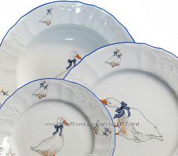 Набор тарелок 18 шт Bernadotte Гуси, фарфор