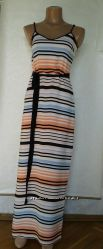 Сарафан  NEW LOOK 40 XS в полоску, с черным поясом.