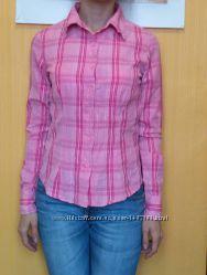 рубашка розовая в клетку