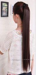 Накладной хвост ровный волнистый на лентах черный коричневый