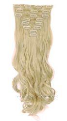 Трессы набор 18 клипс блонд пшеничный коричневые черные