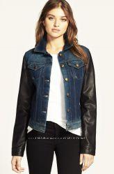 Джинсовая брендовая куртка из сша с кожаными рукавами м и l
