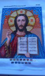 Пара две иконы вышиты  чешским бисером  Иисус Христос и БМ Казанская
