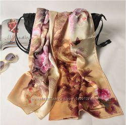 Шелковый шарф Кофейный гладиолус