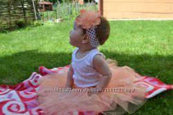 Детская юбка из фатина с вышивкой, расшитая бисером