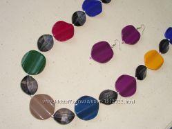 Ожерелье и серьги Минеральные камни - яркое оригинальное украшение