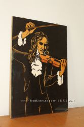 Картина портрет рисунок на  дереве Никколо Паганини