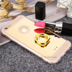 Зеркальный силиконовые чехлы для iphone 6 6S с кольцом золото серебро розов