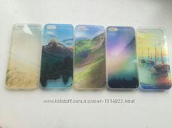 Акция Яркие силиконовые 3D чехлы на iphone 5 5s прозрачные с рисунком