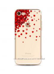 Силиконовый чехол с красными сердцами для iphone 7 8