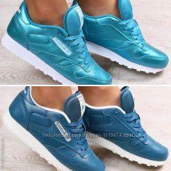 Кроссовки Reebok женские натуральная кожа синие и голубые. Большой выбор