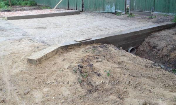 Строительство въезда на участок, Пандусы, опорные стены, ступени, свайные к