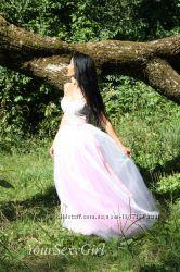 нежнорозовая белая фатиновая юбка пачка до пола длиная
