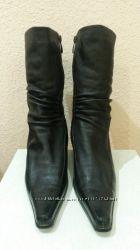 Сапоги женские зимние черные кожаные