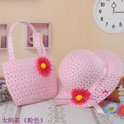 Детский набор шляпа сумочка. В наличии белый, желтый, розовый