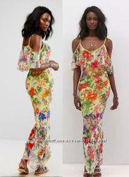Платье-футляр макси asos с открытыми плечами и обркой