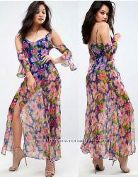 Платье макси asos с полуоткрытой спиной и ярким принтом