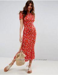 Чайное платье asos city миди с цветочным принтом