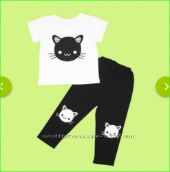Классный комплект с мордочкой кошки футболка и лосины на 110-128, Украина