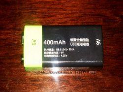 Аккумулятор 9 В Li-pol крона ZNTER 400 mAh с зарядкой от USB