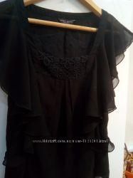 Брендовая шифоновая блуза с принтом