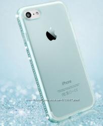Силиконовый салатовый чехол с камнями Сваровски для Iphone 6 6S