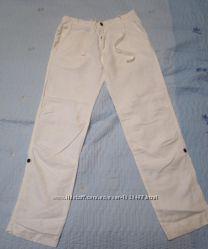 Белые льняные брюки Zara, размер 46 укр 40 европ. б. у. 1 раз