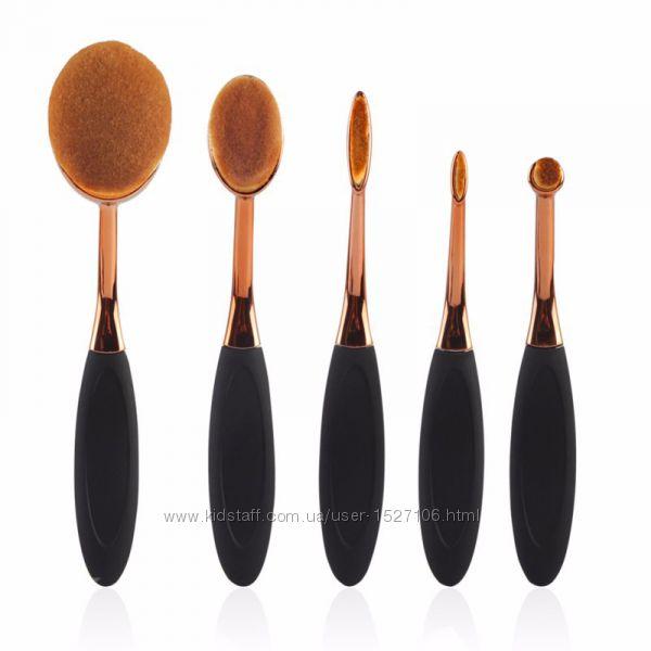 Набор  кистей для макияжа зубная щетка овал 5 шт Oval Toothbrush Set