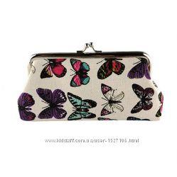 Косметичка женская на фермуаре с бабочками Vintage Butterfly разные цвета