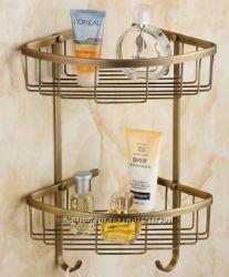 Полочка угловая для ванной двухярусная настенная подвесная бронза 0322