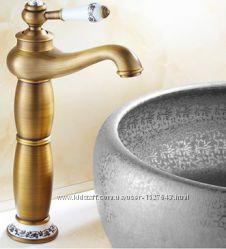 Смеситель кран высокий для чаши умывальника бронза однорычажный 0008