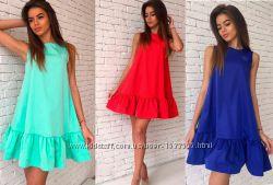 Платье сарафан с рюшей