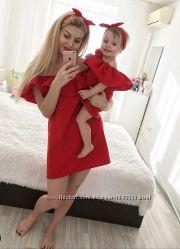 Комплект мама и дочь платье волан